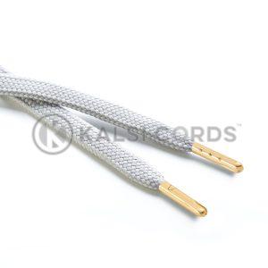 R1176 9mm Flat Tubular Draw String Light Grey 2 Gold Metal Tips Kalsi Cords
