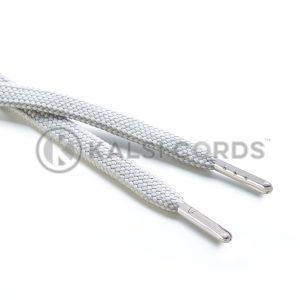 R1176 9mm Flat Tubular Draw String Light Grey 2 Silver Metal Tips Kalsi Cords