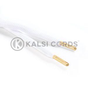 R1176 9mm Flat Tubular Draw String Optic White 2 Gold Metal Tips Kalsi Cords