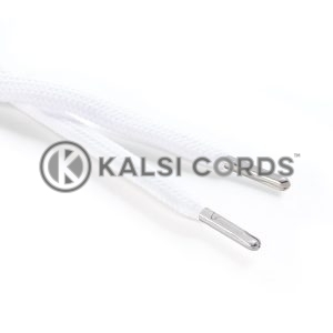 R1176 9mm Flat Tubular Draw String Optic White 2 Silver Metal Tips Kalsi Cords