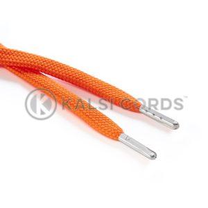 R1176 9mm Flat Tubular Draw String Orange 2 Silver Metal Tips Kalsi Cords