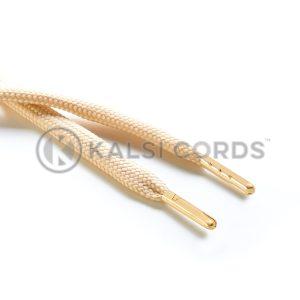 R1176 9mm Flat Tubular Draw String Sahara Beige 2 Gold Metal Tips Kalsi Cords