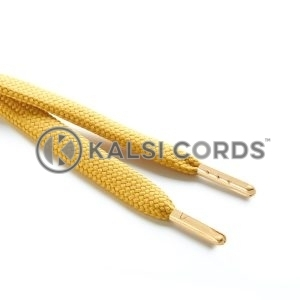 R1176 9mm Flat Tubular Draw String Sovereign Gold 2 Gold Metal Tips Kalsi Cords