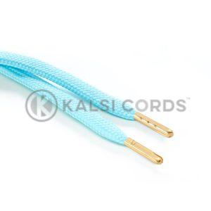 R1176 9mm Flat Tubular Draw String Turquoise 2 Gold Metal Tips Kalsi Cords