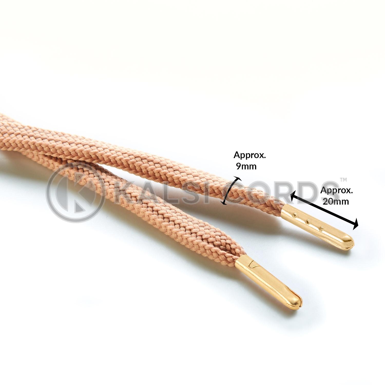 R1176 9mm Flat Tubular Shoe Laces Dark Beige Edit 3 Gold Metal Tips Kalsi Cords